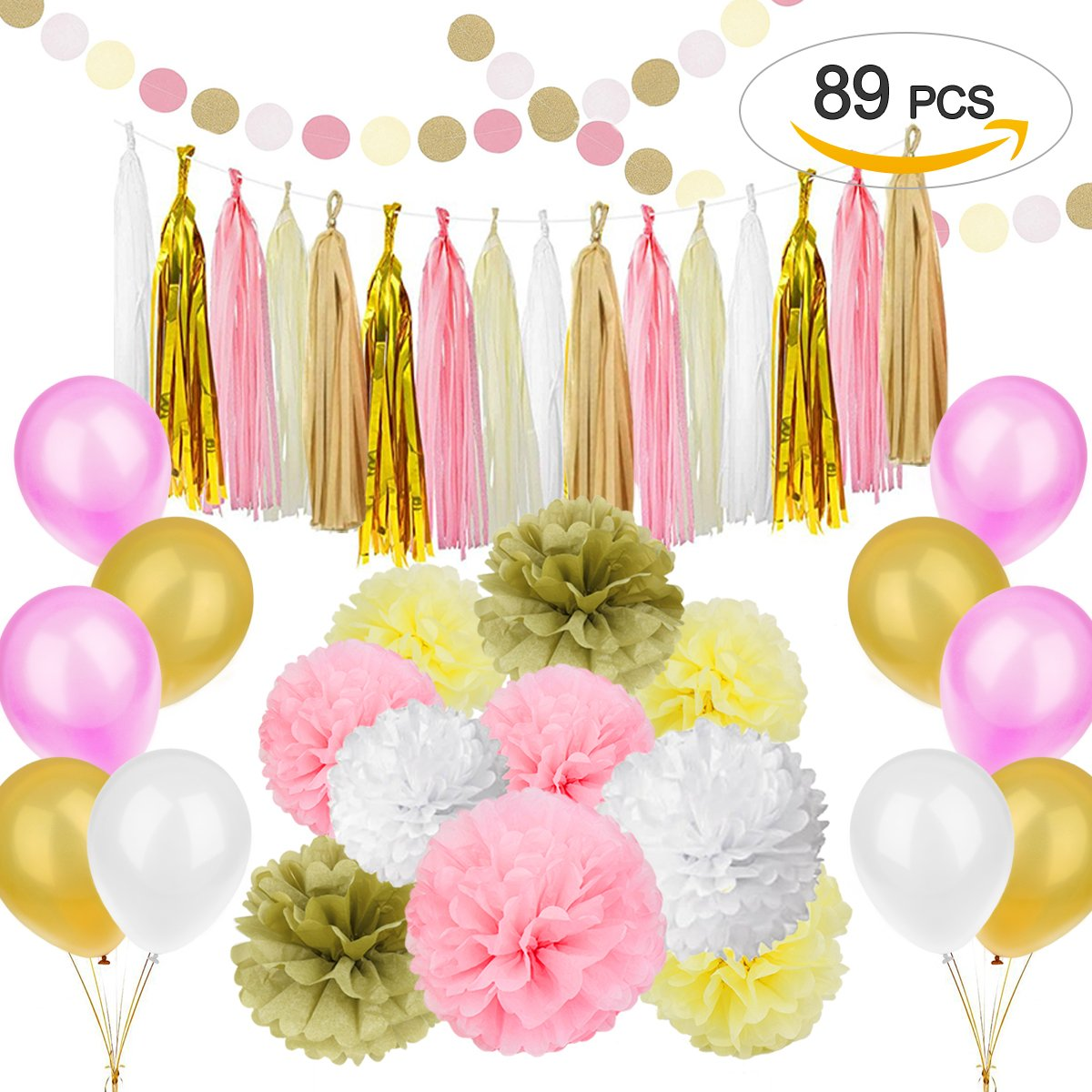 Amazon.com: Pink and Gold Birthday Decorations with Banner Balloons ...