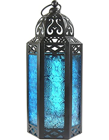 Faroles De Vela De Estilo Marroquí (Azul, Mesa)