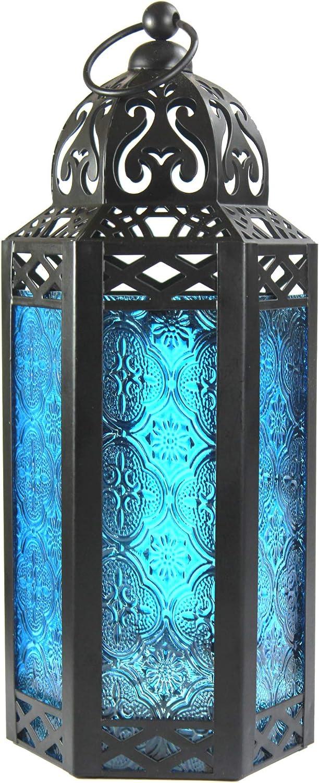 Vela Lanterns Moroccan Style Candle Lantern, Medium, Blue Glass