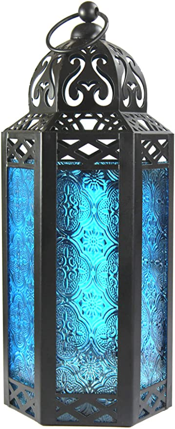 "5 Moroccan 8"" tall BLUE Candle holder Lantern Lamp wedding table centerpieces"