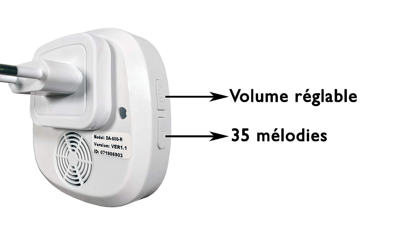 DA-600 D/étecteur de Mouvement Solaire Autonome /& Carillon 35 m/élodies Volume r/églable Alerte de Passage 600m