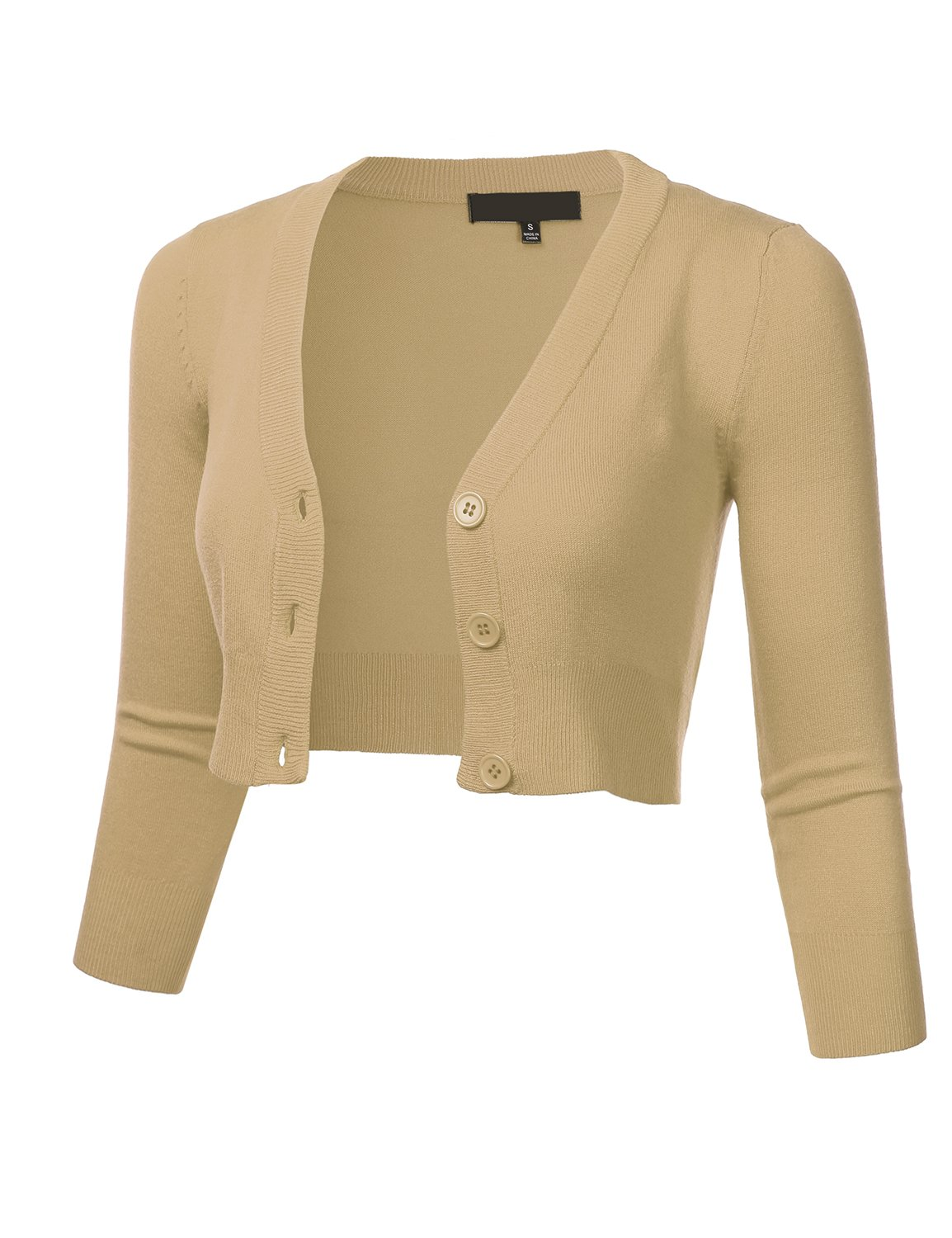 FLORIA Women Solid Button Down 3/4 Sleeve Cropped Bolero Cardigan Sweater TAUPE M