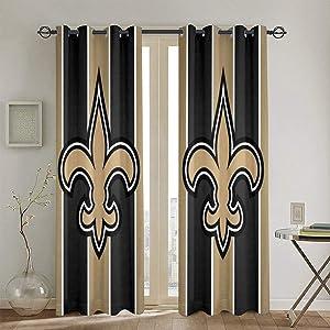 RWNFA Gold Fleur-de-lis Blackout Curtain Panels 48