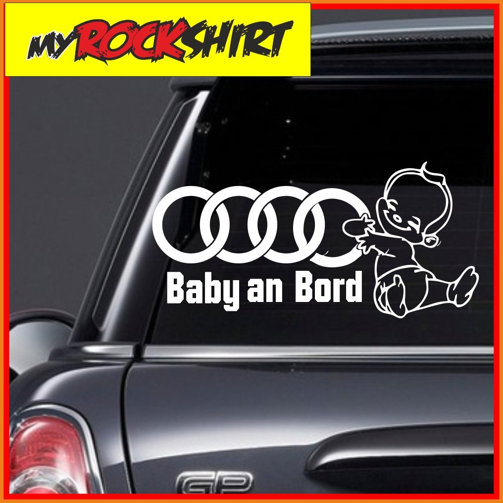 Audi baby an bord baby on board sticker boy with the desired name desired text 25 cm car motorcycle bike sticker many colours to choose from