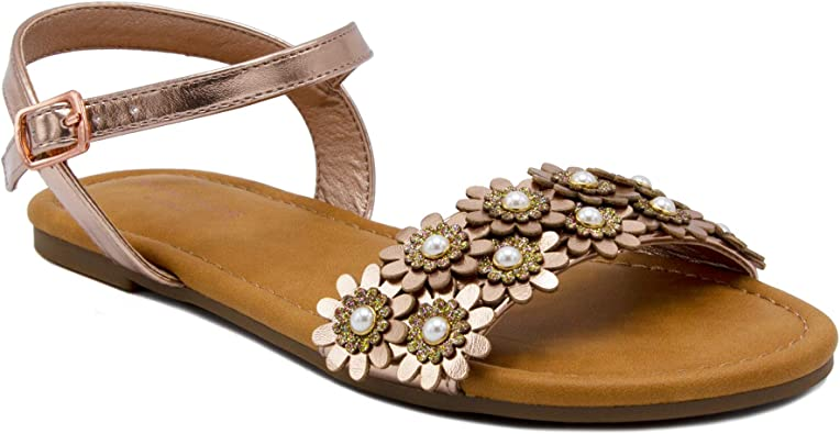 Amazon.com | Rampage Gracie Rose Gold Sandal for Girls | Sandals