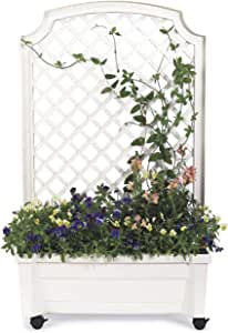 Planter With Trellis And Self-Watering Reservoir, in White