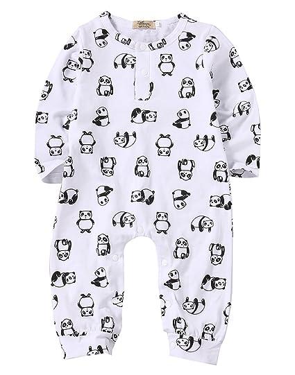 59ae87b73 Amazon.com  Baby Girl Boy Cotton White Panda Print Romper Coverall ...