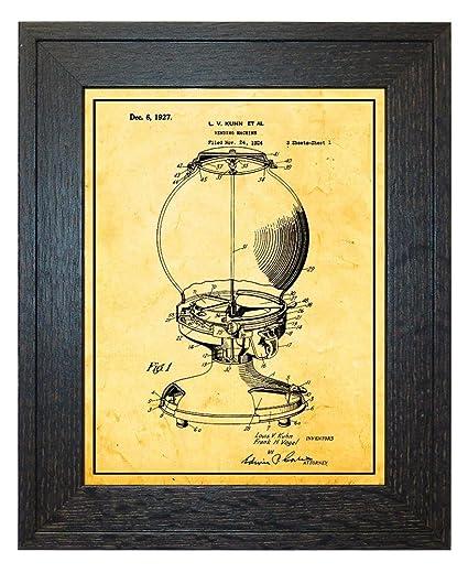 Amazon Gumball Vending Machine Patent Art Golden Look Print