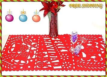 amazon com feliz navidad mexican christmas decor red table runner