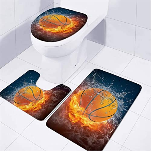 UNICEU Stylish 3D Fire Water Basketball 3 Pcs/Set Bathroom Carpet Toilet Floor Rug Tank Top Toilet Lid Cover