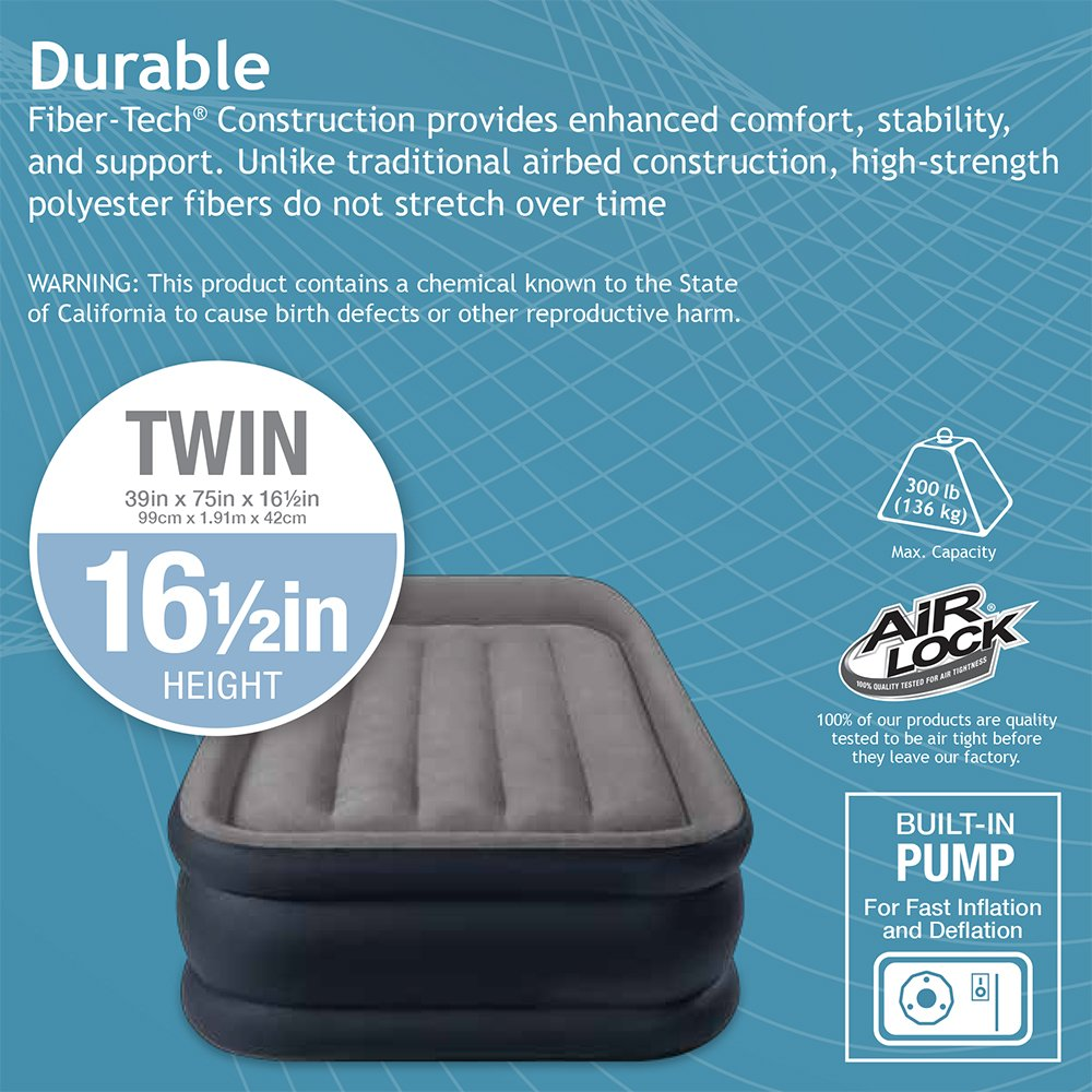 Intex Dura-Beam Standard Series Deluxe Pillow Rest Raised Airbed with Soft Flocked Top for Comfort, Built-in Pillow & Electric Pump, 16.5-Inches, Twin by Intex (Image #5)