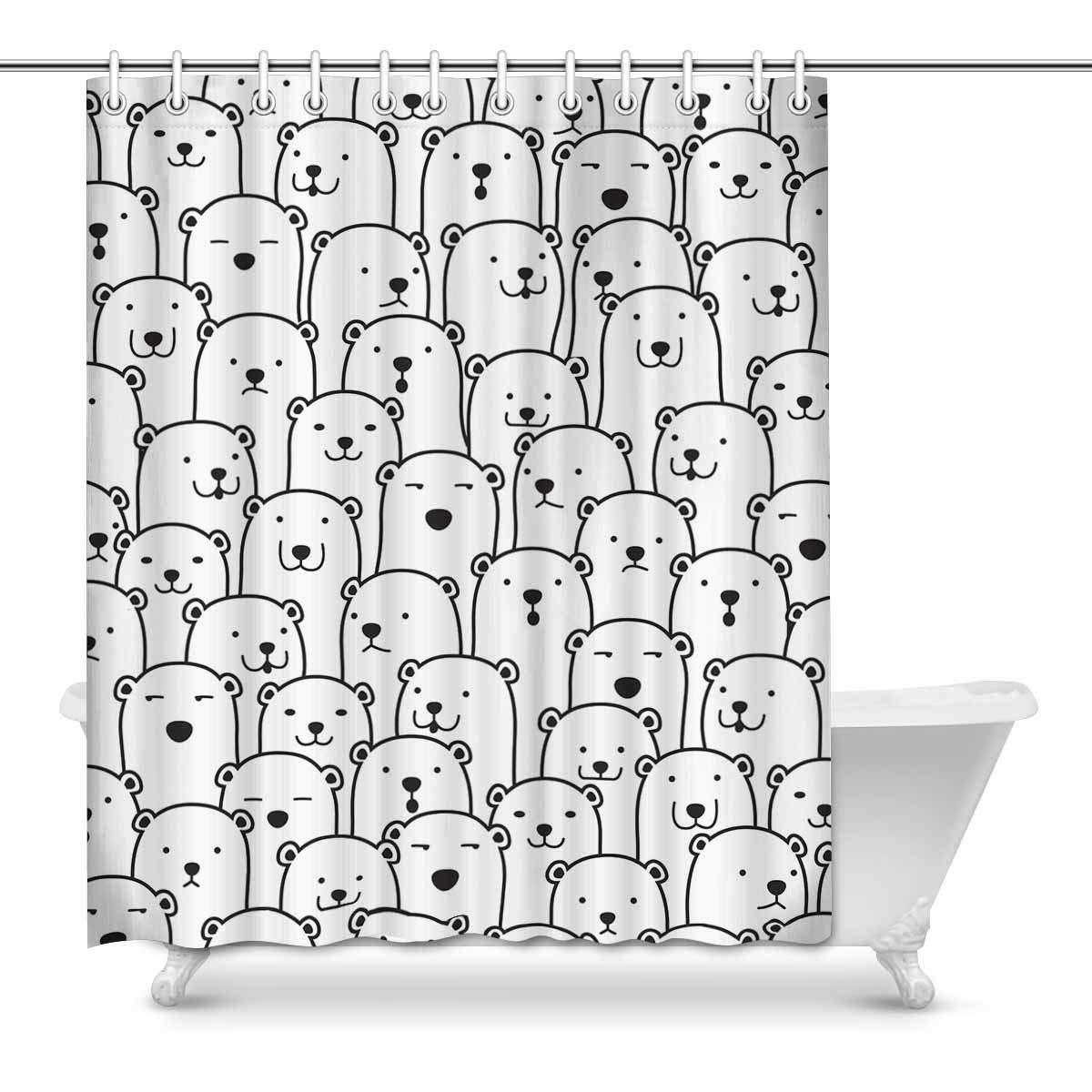 Polar Bear Pattern Home Bath Decor, Cute Cartoon Animals Polyester Fabric Shower Curtain Bathroom Sets 60 X 72 Inches jiaxingpuruog