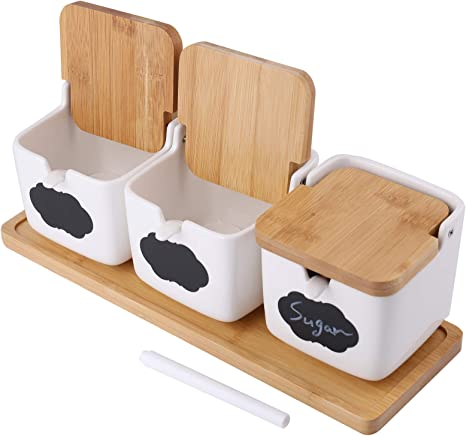 Twin Square Ceramic Dip Dishes On Bamboo Wood Heart Tray With Handle