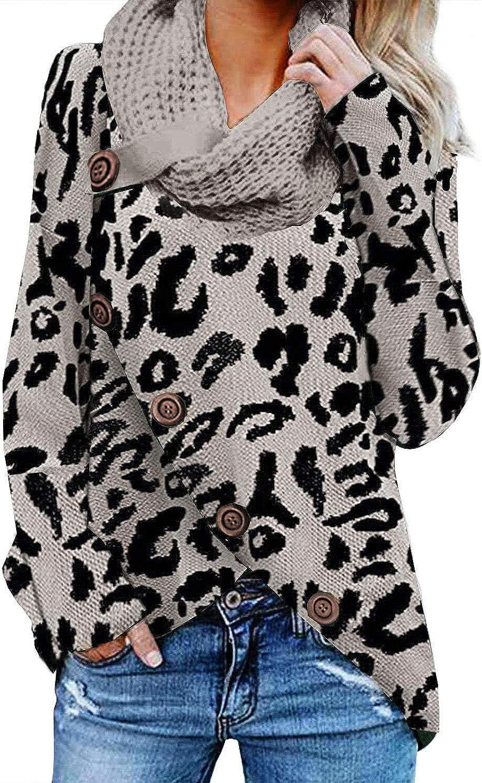 Eytino Women Cowl Neck Long Sleeve Leopard Printed Button Asymmetric Hem Wrap Pullover Sweater Tops S XXL