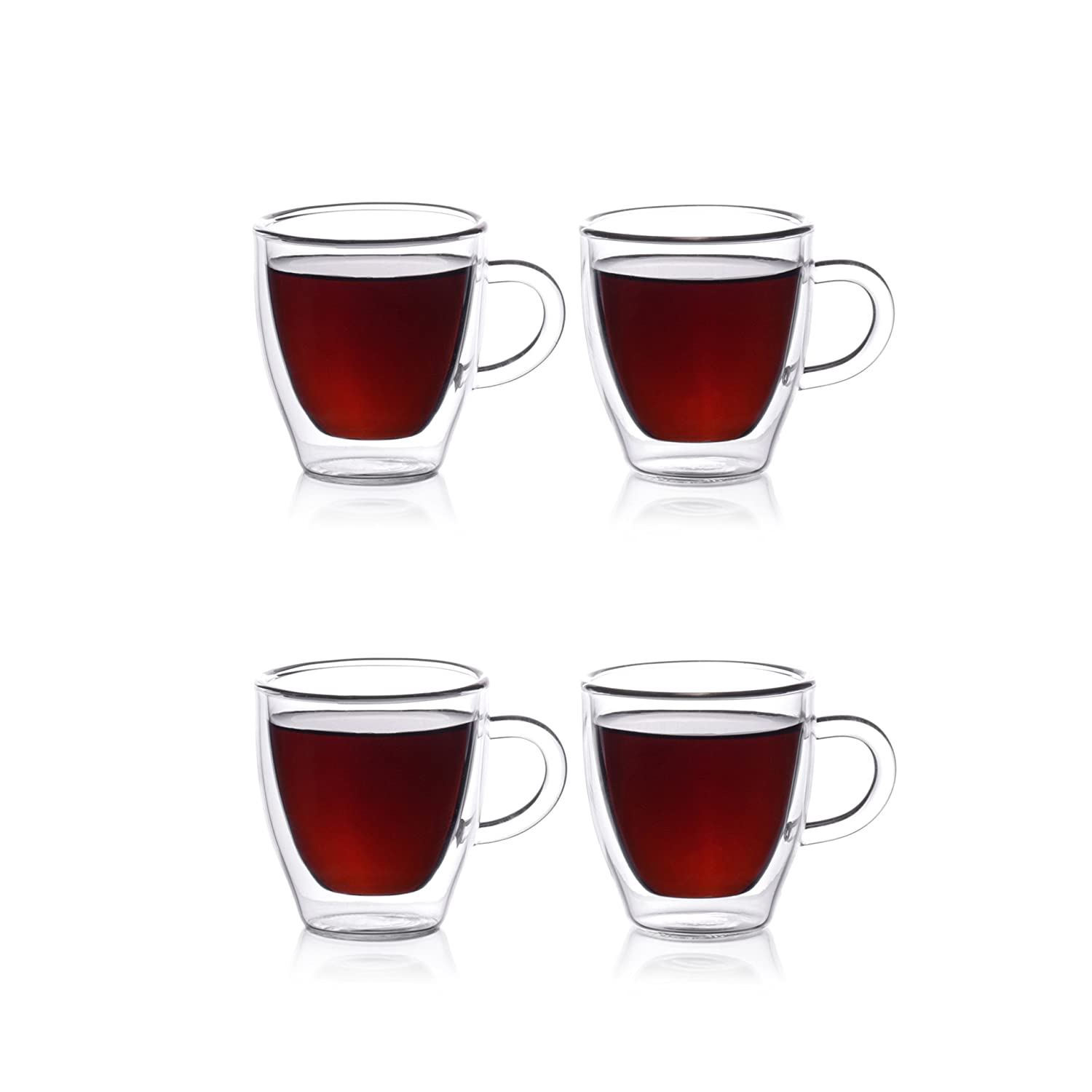 amazoncom  eparé espresso cups insulated glass demitasse set (  - amazoncom  eparé espresso cups insulated glass demitasse set ( oz ml)  double wall thermal tumbler cup  mug for drinking tea latte lungo