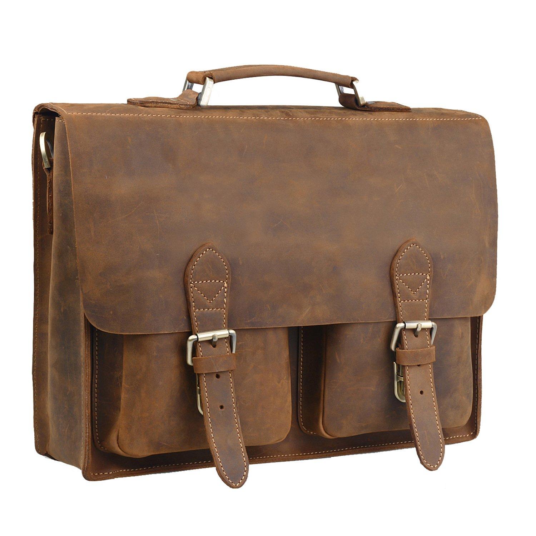 Jack&Chris Handmade Men's Leather Briefcase Messenger Bag Laptop Shoulder Bag,MB009B