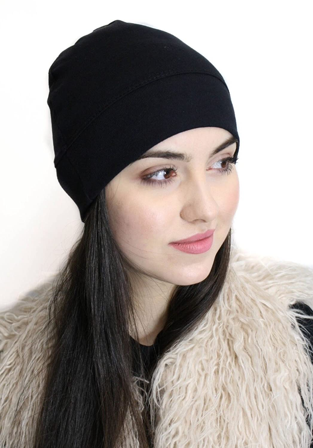8451be177c705 Soft Jersey Blend Sleep Hat Comfortable Soft Hat Liner Beanie Skull Cap  Chemo Hair Loss Head Covering at Amazon Women's Clothing store: