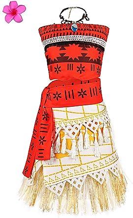 Hawaiian Princess Moana Disney Costume Cosplay Fancy Dress Necklace Outfit Set