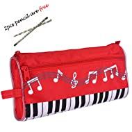 Waterproof Zipper Large capacity stationery Pen Pencil Bag for student or Business people with 2pcs free pencil gift. (Music Red)