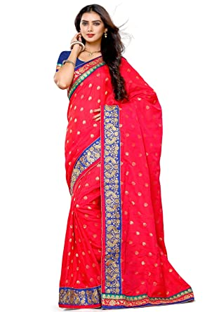 3a428303ee0 Alveera Indian Beauty Collection Latest Design Banarasi Silk Saree With  Blouse - Crimson Red  Amazon.in  Clothing   Accessories