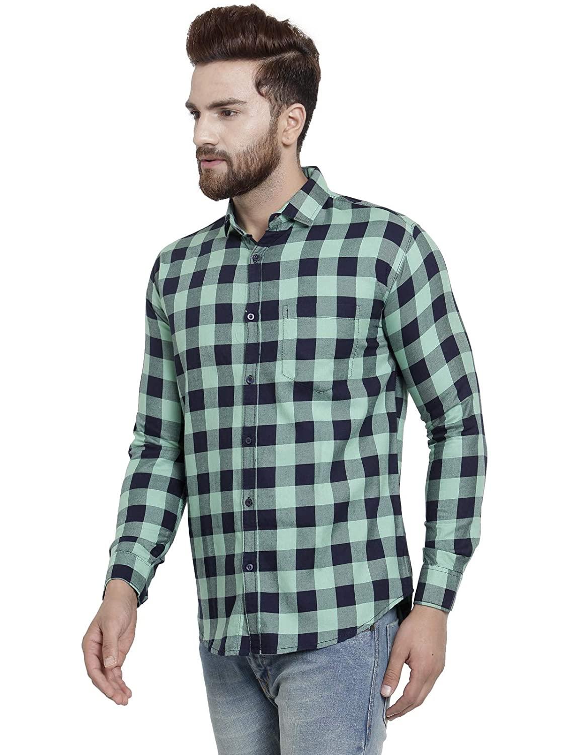 9717d7dcf50 Pacman Green Checkered Smart Slim Fit Mens Formal Cotton Shirt SHFS0140   Amazon.in  Clothing   Accessories