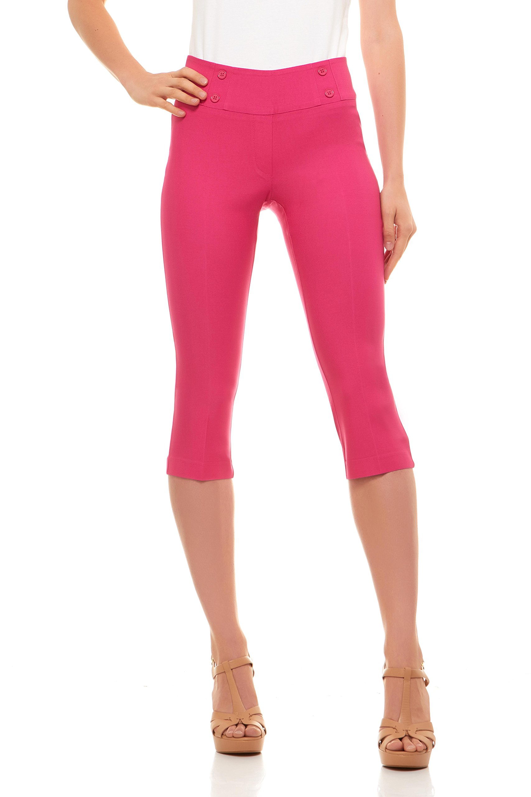 Velucci Womens Classic Fit Capri Pants - Comfortable Pull On Style With Detailed Design, Exotic Pink-M by Velucci