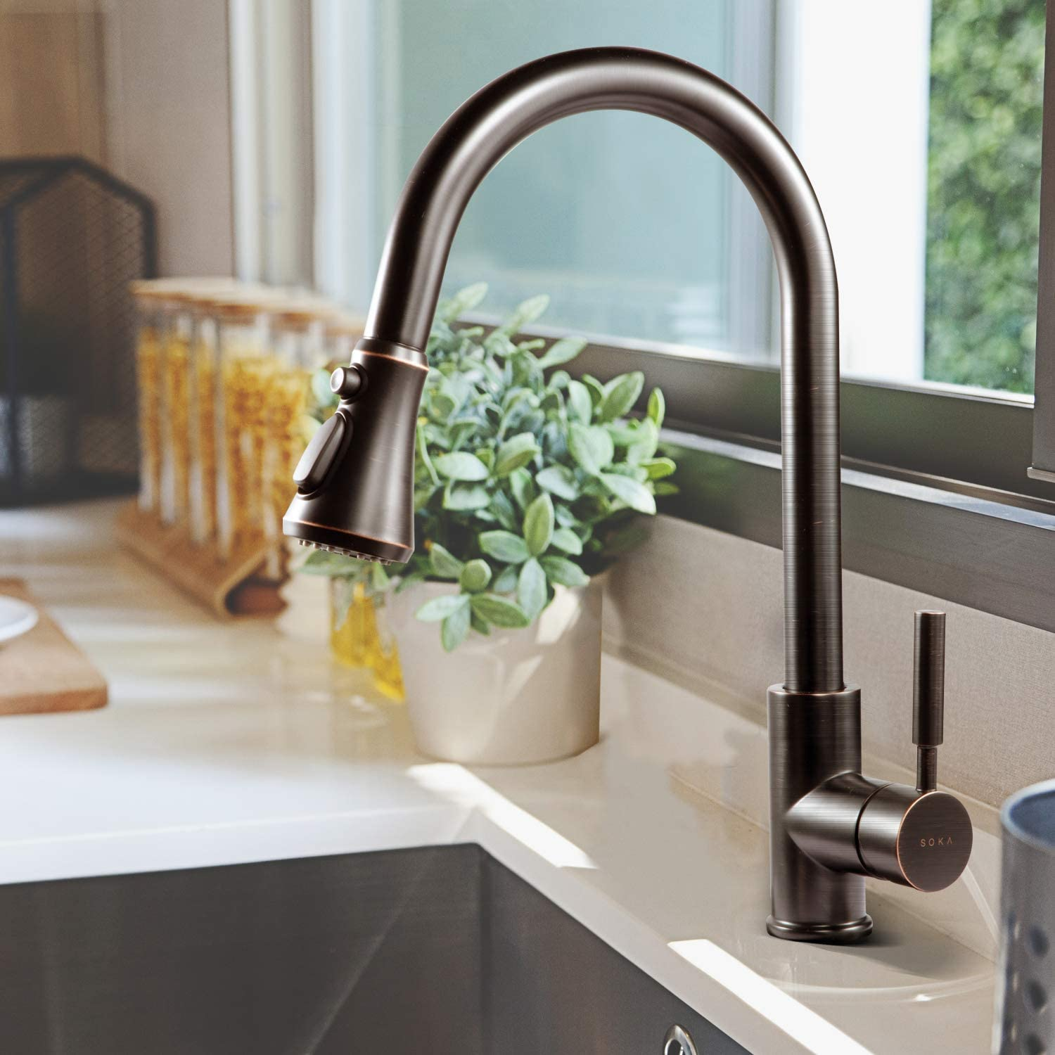 Soka Kitchen Faucet Oil Rubbed Bronze Kitchen Sink Faucet With Pull Down Sprayer Kitchen Faucet Bronze With Deck Plate Single Handle Modern Rv Kitchen Faucet Orb 3 Function Laundry Faucet Amazon Com