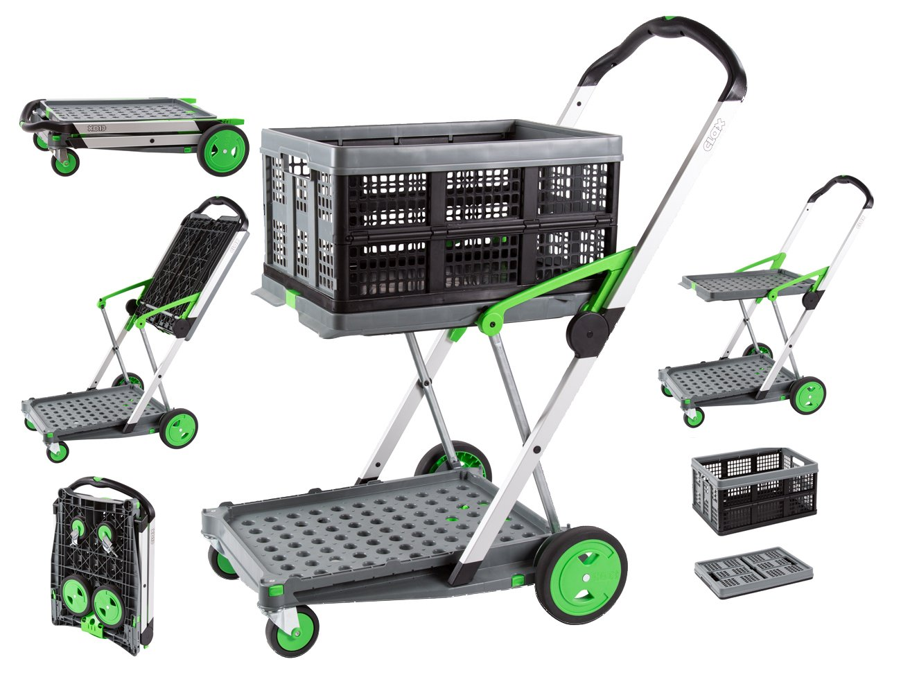 Clax Cart Mobile Folding Cart- Grey by Salesmaker Carts