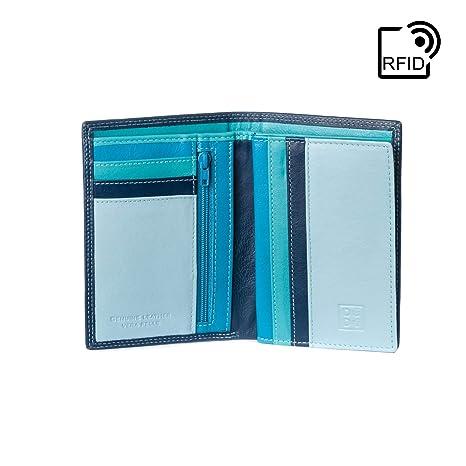 61a82dc63c DUDU Portafoglio uomo Verticale a libro in Vera Pelle multicolore con  Cerniera lampo zip e Porta