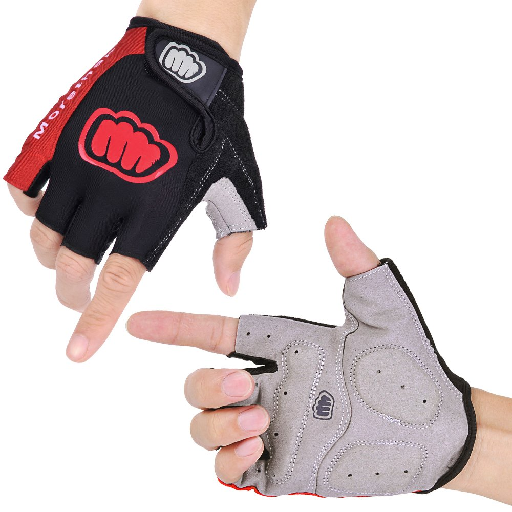 Morethan Cycling Gloves for Men Half Finger, Gel Mountain Bike Gloves, Breathable Lycra, Anti-Slip Shock