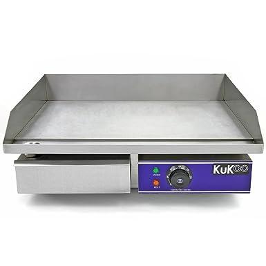 Kukoo - Plancha de Cocina Eléctrica 50cm de Acero Inoxidable Plancha de Grill