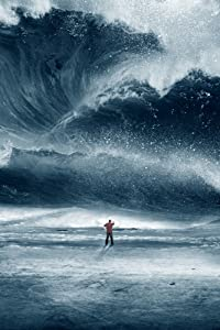 Man Standing in front of Tidal Wave (24x36 Fine Art Giclee Gallery Print, Home Wall Decor Artwork Poster)
