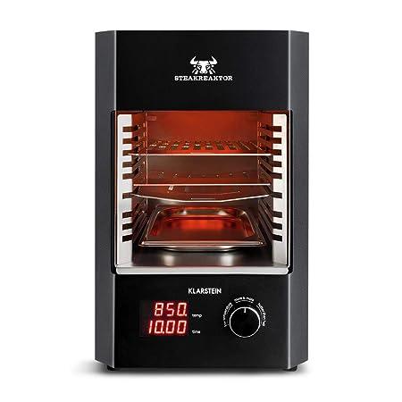 KLARSTEIN Steakreaktor 2.0 - Potente Grill, Parrilla eléctrica, Grill Alta Temperatura, 850°C, Placas cerámicas, Pantalla LED Bandeja Grasa, Negro