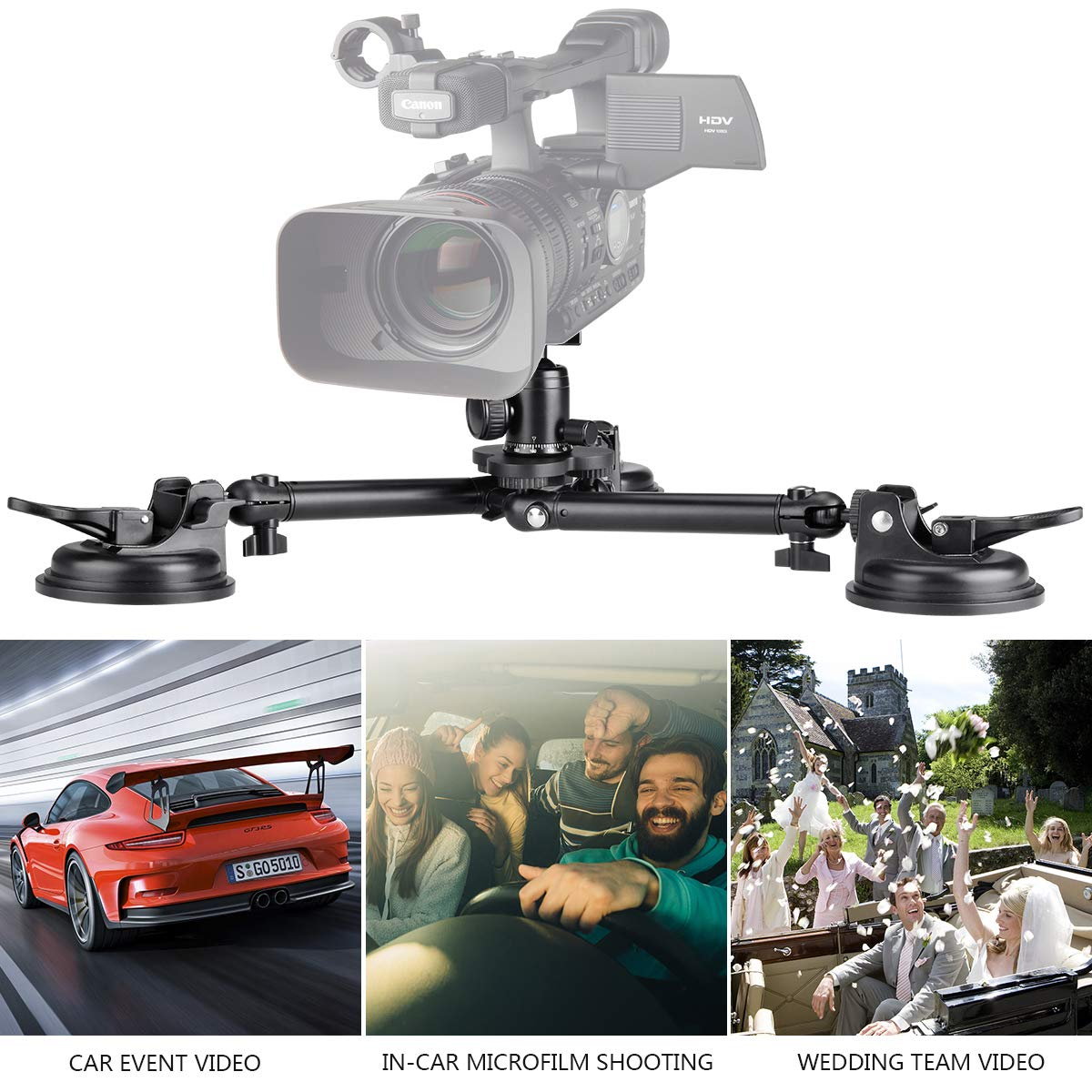 Professional Heavy Duty DSLR Camera Suction Cup Car Mount Camcorder Vehicle Holder w/ Quick Release 360°Panorama Ball Head Compatible with Nikon Canon Sony Mirrorless for Hi-Speed Motion Photography by fantaseal (Image #5)