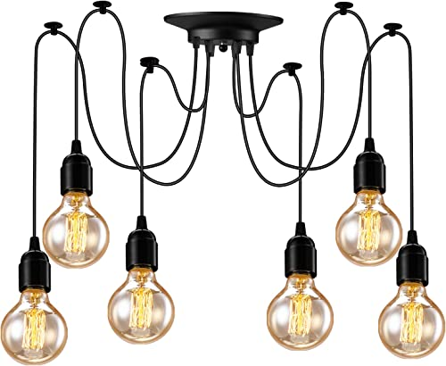 Asnxcju Industrial Pendant Lighting 6 Heads, Adjustable DIY Vintage Style Spider Semi Flush Mount Ceiling Light, Hanging Lamp Fixture for Dining Room Kitchen Bedroom