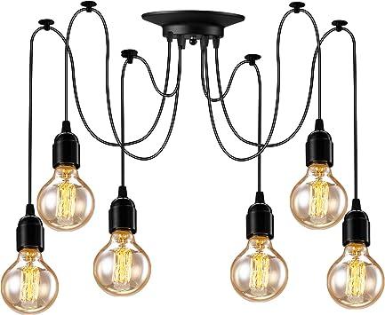 6 Heads Vintage Pendant Lamp Kitchen Bar Hanging Ceiling Light Chandelier DIY