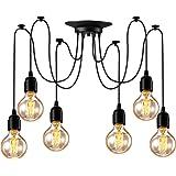Asnxcju Industrial Pendant Lighting 6 Heads, Adjustable DIY Vintage Style Spider Semi Flush Mount Ceiling Light, Hanging Lamp