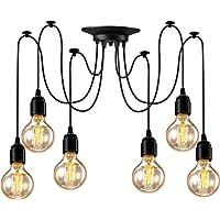 Asnxcju Industrial Pendant Lighting 6 Heads, Adjustable DIY Vintage Style Spider Semi Flush Mount Ceiling Light, Hanging…