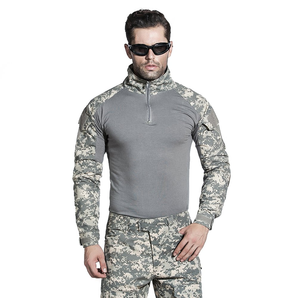 SINAIRSOFT Military Combat Shirt Elbow Pads Tactical Army Assault Long Sleeve T-Shirt
