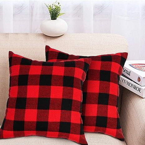 18x18 Buffalo Plaid Pillow Covers Cotton Linen Home Sofa Cushion Case Sofa Decor