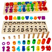 Montessori Toys for Toddlers, Sendida Shape Sorter Number and Math Stacking Blocks Toddlers Learning Toys Gift, Learning…