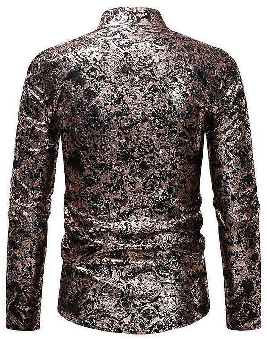 Jotebriyo Mens Long Sleeve Printed Stand Collar Casual Button Down Dress Shirt