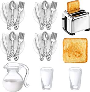 22 Pieces 1:12 Scale Miniatures Dollhouse Kitchen Accessories, 3 Miniature Scene Mode Drinks Set, Scene Model Toast Machine with 2 Toast, 16 Mini Doll Plates Knife Fork Spoons (Milk)