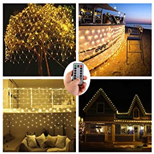 Net Lights Outdoor Mesh Lights with Remote,9.8ft x 6.6ft 200 LED Tree-wrap Lights,Party Background Light,8 Modes Dimmable String Lights for Christmas Halloween Brush-Powered by 3x D Battery,Warm White