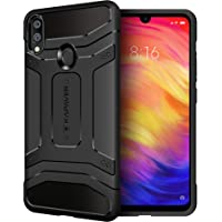 KAPAVER® Xiaomi Redmi Note 7 / Redmi Note 7 / Redmi Note 7S Pro Back Cover Case Drop Tested Shock Proof Carbon Fiber Armor Black