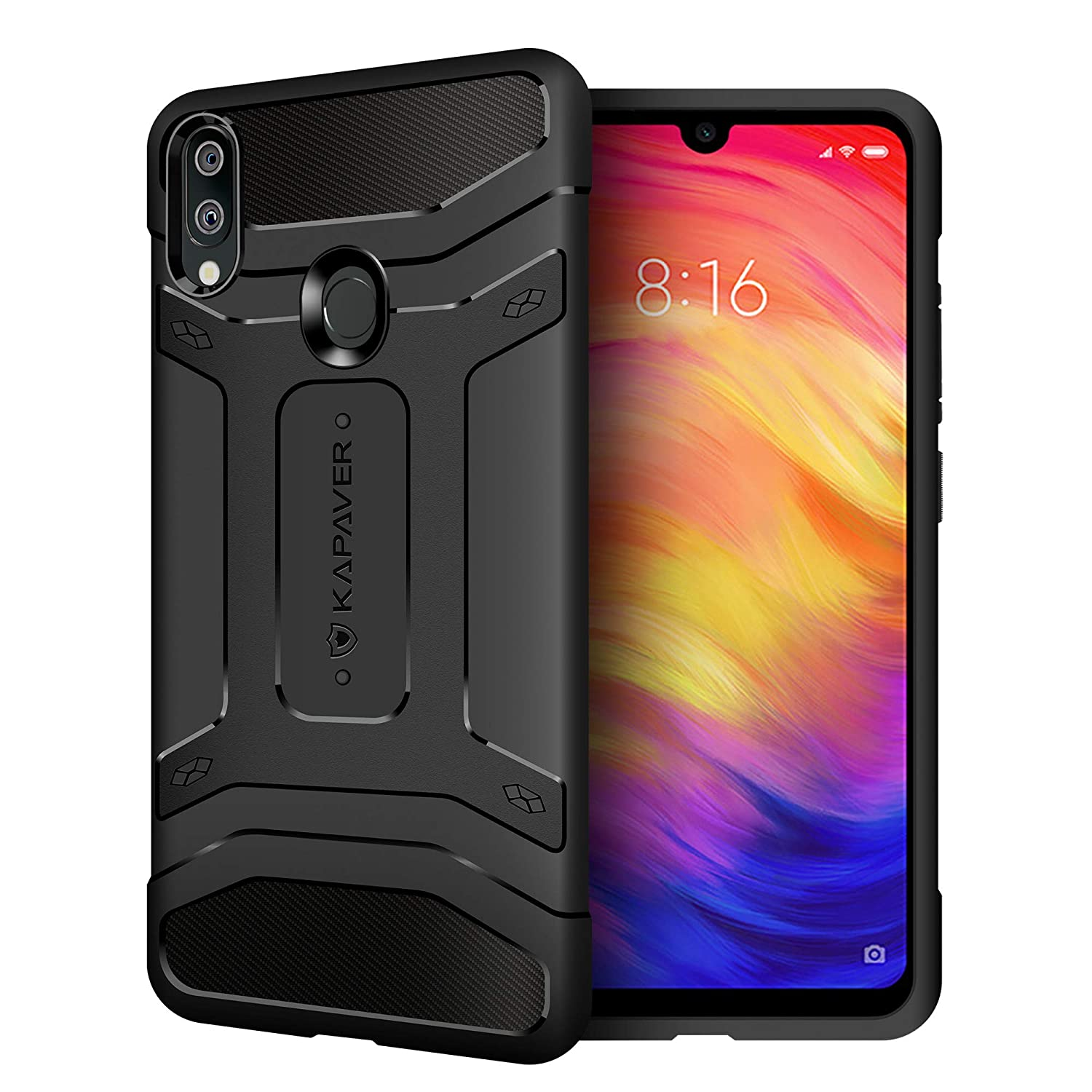 new styles 79e40 96fa4 KAPAVER® Xiaomi Redmi Note 7 / Redmi Note 7 / Redmi Note 7S Pro Rugged Back  Cover Case MIL-STD 810G Officially Drop Tested Solid Black Shock Proof ...