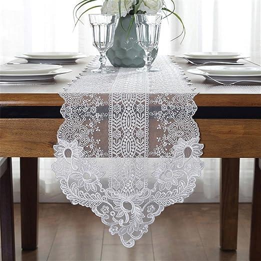 taixiuhome blanco bordados de flores Camino de mesa de encaje de ...