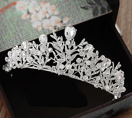 Amazon.com: barogirl boda corona y tiara Princesa Oro Corona ...