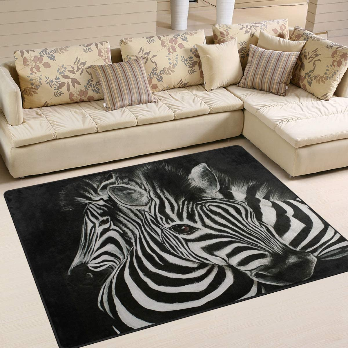 1.7 x 2.6 ft Naanle Animal Art Non Slip Area Rug for Living Dinning Room Bedroom Kitchen Animal Zebra Nursery Rug Floor Carpet Yoga Mat 50 x 80 cm