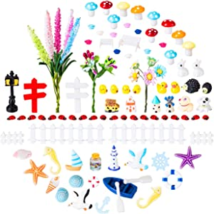 LIHAO 150 Piece Miniature Fairy Garden Ornaments Kit, Miniature Ladybug Mushroom and More Accessories for Fairy Garden House Decoration
